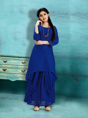 Get Ready For The Upcoming Festive Season With This Readymade Dhoti Kurta Set In Royal Blue Color. This Pretty Kurta And Dhoti Are Fabricated On Cotton Slub And Also It Is Available In All Regular Sizes. Buy Now.