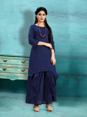 Get Ready For The Upcoming Festive Season With This Readymade Dhoti Kurta Set In Navy Blue Color. This Pretty Kurta And Dhoti Are Fabricated On Cotton Slub And Also It Is Available In All Regular Sizes. Buy Now.