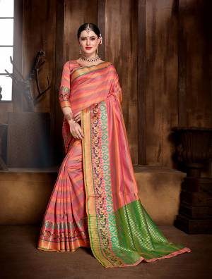 Grab This Designer Silk Based Saree In Dark Peach Color Paired With Dark Peach Colored Blouse. This Saree And Blouse are Fabricated On Banarasi Art Silk Beatified With Attractive Weave All Over. Buy Now.