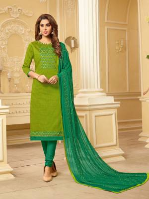 Grab This Pretty Dress Material For This Summer And Get This Stitched As Per Your Desired Fit And Comfort. Its Top Is Fabricated On South Cotton Slub Paired With Cotton Bottom And Chiffon Dupatta. Its Top And Dupatta Are Beautified With Thread Work.