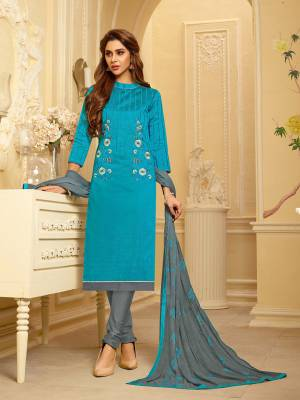 Summer Is All About Comfort And Bright Shades. So Grab This Dress Material In Cotton Based Paired With Chiffon Fabricated Dupatta. You can Get This Stitched As Per Your Summer Comfort And Its Fabric Ensures Superb Comfort All Day Long.