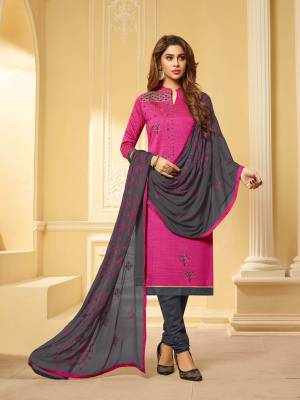 If Those Readymade Suit Does Not Lend You The Desired Comfort, Than Grab This Dress Material and Get This Stitched As Per Your Desired Fit And Comfort. This Dress Material Is Cotton Based Paired With Chiffon Fabricated Dupatta. Buy Now.