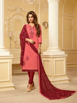 Beat The Heat This Summer With The Pretty Cotton Based Dress Material Paired With Chiffon Fabricated Dupatta. Its Top Is South Cotton Fabricated Paired With Cotton Bottom And Chiffon Dupatta. It Is Light Weight And Easy To Carry All Day Long.