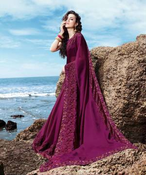 Beat The Heat This Summer Wearing This Designer Saree In Purple Color Paired With Purple Colored Blouse. This Saree Is Fabricated On Georgette Satin Paired With Art Silk Fabricated Blouse.