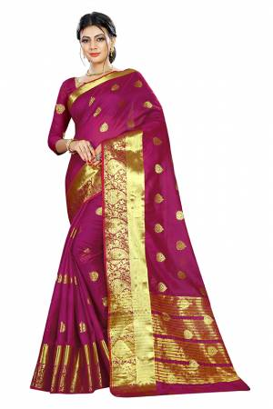 Beat This Heat This Summer Wearing This Pretty Attractive Magenta Pink Colored Saree. This Saree And Blouse Are Fabricated On Cotton Silk Beautified With Weave Butti All Over. Also It Is Light In Weight And Easy To Carry All Day Long.