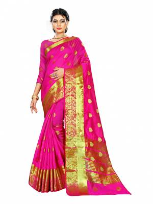 Beat This Heat This Summer Wearing This Pretty Attractive Rani Pink Colored Saree. This Saree And Blouse Are Fabricated On Cotton Silk Beautified With Weave Butti All Over. Also It Is Light In Weight And Easy To Carry All Day Long.