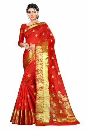 Beat This Heat This Summer Wearing This Pretty Attractive Red Colored Saree. This Saree And Blouse Are Fabricated On Cotton Silk Beautified With Weave Butti All Over. Also It Is Light In Weight And Easy To Carry All Day Long.