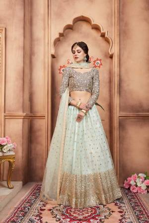 You Will Definitely Earn Lots Of Compliments In This Designer Lehenga Choli With Pastel Shades. Its Blouse Is In Grey Color Paired With Aqua Blue Colored Lehenga And Dupatta. It Is Fabricated On Art Silk Paired With Net Fabricated Lehenga And Dupatta. It Is Beautified With Attractive Embroidery.