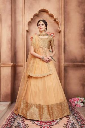 Celebrate This Festive Season Wearing This Designer Lehenga Choli In Beige Color. Its Heavy Embroidered Blouse Is Paired With Net Fabricated Lehenga And Dupatta. It Is Beautified With Attractive Sequence Embroidery.
