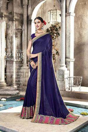 Bright And Visually Appealing Color Is Here With This Designer Saree In Navy Blue Color. This Saree And Blouse are Silk Based Beautified With Attractive Embroidery Over The Lace Border.