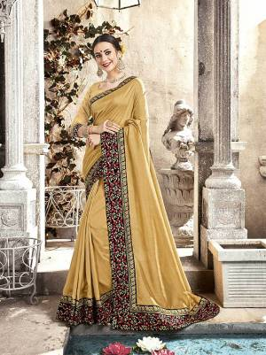 Simple And Elegant Looking Deisgner Saree Is Here In Beige Color Paired With Beige Colored Blouse. This Saree And Blouse Are Silk based Beautified With Embroidered Lace Boder.