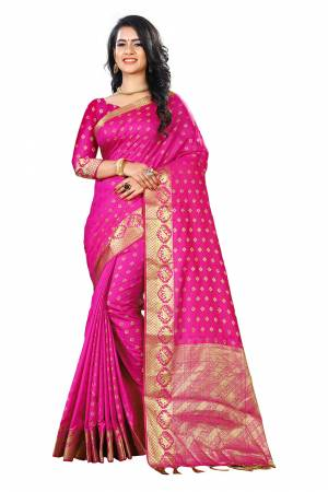 Add This Beautiful Silk Based Saree To Your Wardrobe In Pink Color Paired With Pink Colored Blouse. It Is Beautified With Attractive Butti Weave Over The Saree And Blouse. Buy Now.