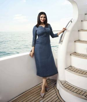 Celebrate This Festive Season With Beauty And Comfort Wearing This Designer Readymade Straight Kurti In Blue Color Fabricated On Satin Silk Which Is Soft Towards Skin And Easy To Carry All Day Long.