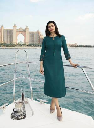 New Shade Is Here To Add Into Your Wardrobe With This Designer Readymade Straight Cut Kurti In Teal Blue Color Fabricated On Satin Silk. Its Fabric Ensures Superb Comfort All Day Long. Buy Now.