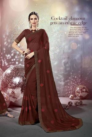 Grab This Beautiful Designer For The Upcoming Festive Season. This Saree Is Fabricated On Chiffon Paired With Art Silk Fabricated Blouse. It Is Beautified With Pretty Tone To Tone Embroidery. Buy This Designer Saree Now.