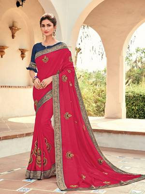Attractively Gorgeous mesmerizing is what you will look at the next wedding gala wearing this beautiful Dark Pink color silk fabrics saree. Ideal for party, festive & social gatherings. this gorgeous saree featuring a beautiful mix of designs. Its attractive color and designer heavy embroidered design, Flower embroidered patch butta design, stone design, beautiful floral design work over the attire & contrast hemline adds to the look. Comes along with a contrast unstitched blouse.