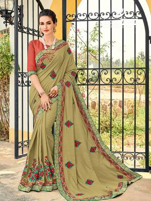 Presenting this Pastel green color silk fabrics saree. Ideal for party, festive & social gatherings. this gorgeous saree featuring a beautiful mix of designs. Its attractive color and designer heavy embroidered design, Flower embroidered butta design, stone design, beautiful floral design work over the attire & contrast hemline adds to the look. Comes along with a contrast unstitched blouse.