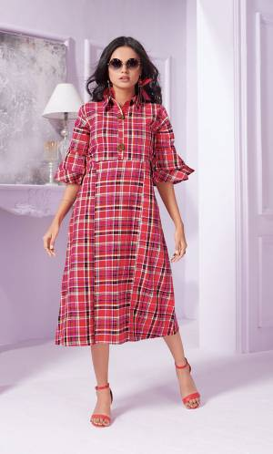 Grab This Beautiful Readymade Kurti In Dark Pink Color Fabricated On Cotton Beautified With Bold Checks Prints All Over It. This Kurti Is Light Weight And Easy To Carry All Day Long.
