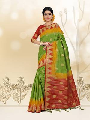 Add This Pretty Saree For your Semi-Casual Wear With Weave All Over. This Saree And Blouse Are Fabricated On Nylon Silk Which Ensures Superb Comfort All Day Long.