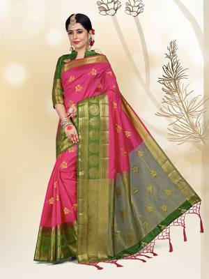 Add This Pretty Saree For your Semi-Casual Wear With Weave All Over. This Saree And Blouse Are Fabricated On Paper Silk Which Ensures Superb Comfort All Day Long.
