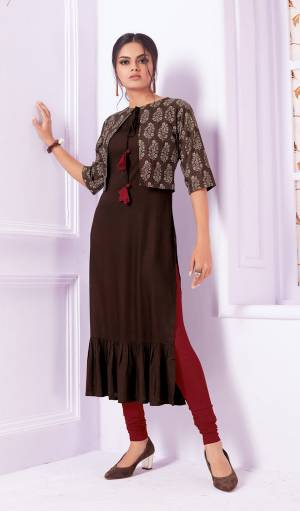 You Will Definitely Earn Lots Of Compliments Wearing This Designer Readymade Kurti In Brown Color Fabricated On Rayon. This Kurti Is Light Weight And Easy To Carry All Day Long.