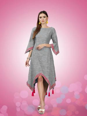 Grab This New Patterned Designer Readymade Kurti In Grey Color Fabricated On South Cotton. This Kurti Is Light Weight And Also Available In All Regular Sizes.