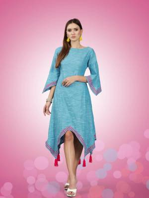 Grab This New Patterned Designer Readymade Kurti In Blue Color Fabricated On South Cotton. This Kurti Is Light Weight And Also Available In All Regular Sizes.