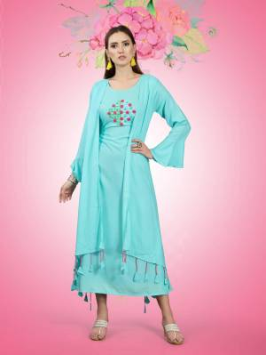 Beautiful Jacket Patterned Designer Readymade Kurti Is Here In Sky Blue Color Fabricated On Rayon. It Has Pretty Thread Work Over The Yoke Making This Kurti More Attractive, Buy Now.