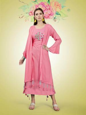 Beautiful Jacket Patterned Designer Readymade Kurti Is Here In Pink Color Fabricated On Rayon. It Has Pretty Thread Work Over The Yoke Making This Kurti More Attractive, Buy Now.