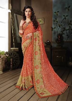 Add Some Casuals With This Pretty Georgette Based Saree Beautified With Prints. It Is Light In Weight As It Is Weightless Fabric Which Also Perfect For Summer. Buy Now.