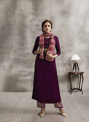 Grab This Rich Looking Designer Readymade Kurti In Wine Color Paired With Beige Colored Bottom And Multi Colored Scarf. Kurti And Plazzo are Fabricated On Rayon Paired With Soft Cotton Printed Dupatta. All Its Fabrics are Soft Towards Skin And Easy To Carry All Day Long.