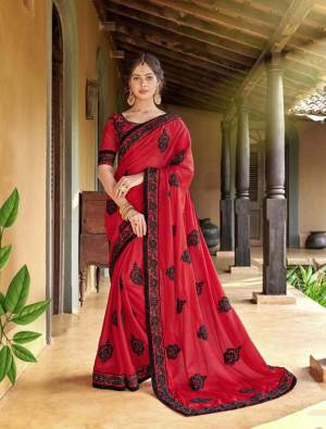 Shine Bright In This Designer Red Colored Saree Paired With Red Colored Blouse. This Saree Is Georgette Based Paired With Are Silk Fabricated Blouse Beautified With Contrasting Thread Embroidery And Stone Work