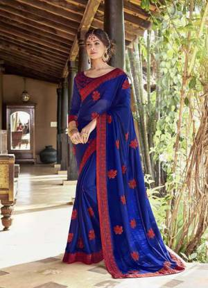Celebrate This Festive Season Wearing This Designer Silk Based Saree In Royal Blue Color Paired With Royal Blue Colored Blouse. This Saree Is Fabricated On Georgette Paired With Art Silk Fabricated Blouse Beautified With Thread Embroidery And Stone Work