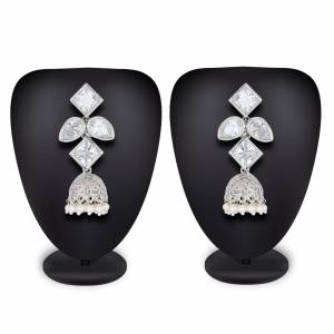 Grab This Pretty Earrings Set In Silver Color To Pair Up With Your Indo Western Attire. It Is Light In Weight And Can Be Paired With Any Colored Attire. Buy Now.
