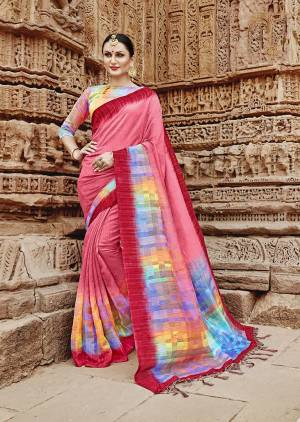 Look Pretty In This Designer Pink Colored Saree Paired With Multi Colored Blouse. This Saree And Blouse Are Fabricated On Khadi Silk Beautified With Multi Colored Abstract Prints Over The Pallu.