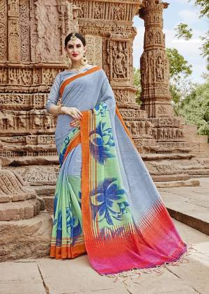New And Unique Patterned Printed Saree Is Here In Light Grey And Multi Color Paired With Light Grey Colored Blouse. This Saree And Blouse Are Fabricated On Khadi Silk Beautified With Bold Floral Prints Over The Border.