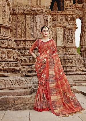 For Your Semi-Casuals. Grab This Beautiful Saree In Rust Paired With Rust Colored Blouse. This Saree And Blouse Are Fabricated On Khadi Silk Beautified Prints. It Is Light In Weight And Easy To Carry All Day Long.