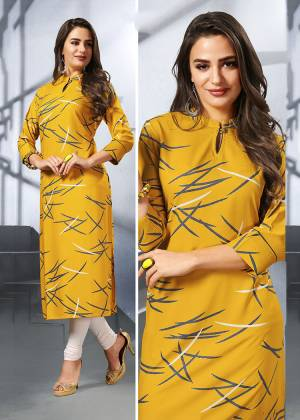 Be It Your College, Home Or Work Place This Kurti Is Suitable For All. Grab This Readymade Printed Kurti In Yellow Color Fabricated On Rayon.