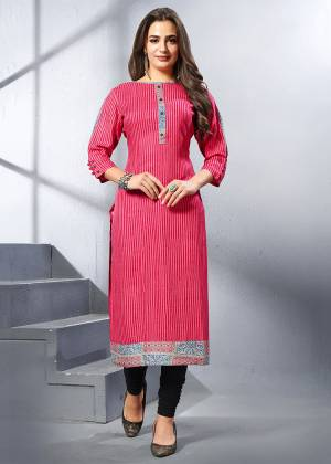 For Your Casual Or Semi-Casual Wear, Grab This Readymade Kurti In Dark Pink Color Fabricated On Rayon. This Kurti Is Available In All Regular Sizes. Buy Now.