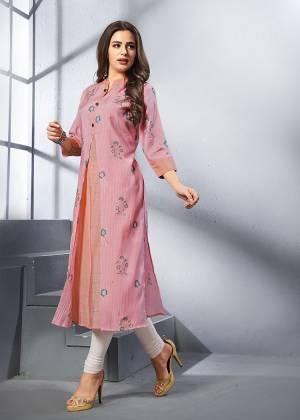 Look Pretty In This Readymade Pink Colored Kurti Fabricated On Rayon. This Kurti Is Light Weight, Soft Towards Skin And Easy To Carry All Day Long For This Summer.