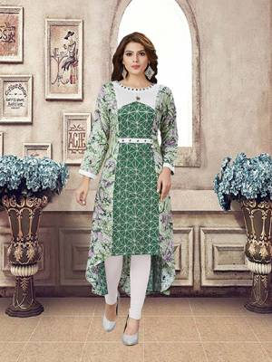 Grab This Pretty High Low Patterned Readymade Kurti In Green Color Fabricated On Rayon, It Is Beautified With Prints And Available In All Regular Sizes.