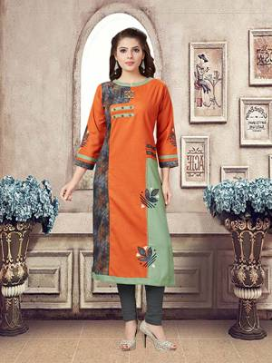 Simple And Elegant Looking Readymade Kurti Is Here In Orange Color Fabricated On Linen. This Fabric Gives A Rich Look And Is Comfortable.