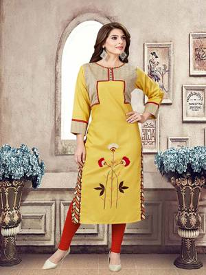 For Your Casual Or Semi-Casuals, Grab This Readymade Kurti In Yellow Color Fabricated On Linen.