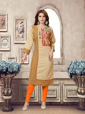 Simple And Elegant Looking Readymade Kurti Is Here In Beige Color Fabricated On Linen. This Fabric Gives A Rich Look And Is Comfortable.