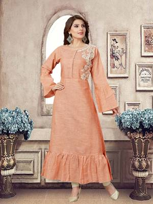 Look Pretty In This Maxi Patterned Designer Readymade Kurti In Peach Color Fabricated On Khadi Beautified With Pretty Thread Work .