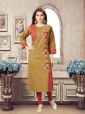 For Your Casual Or Semi-Casuals, Grab This Readymade Kurti In Brown Color Fabricated On Linen.