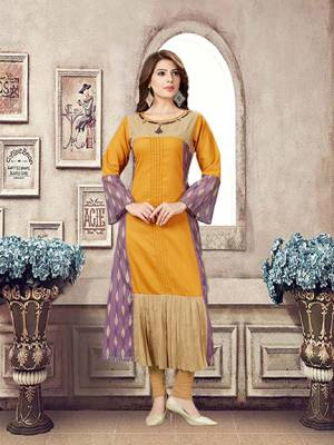 Plus Sizes Are Available In This Pretty Patterned Readymade Kurti In Musturd Yellow Color Fabricated On Linen. It Is Available In All Plus Sizes. Buy Now.