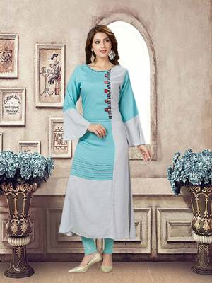 Plus Sizes Are Available In This Pretty Patterned Readymade Kurti In Sky Blue &Grey Color Fabricated On Rayon. It Is Available In All Plus Sizes. Buy Now.