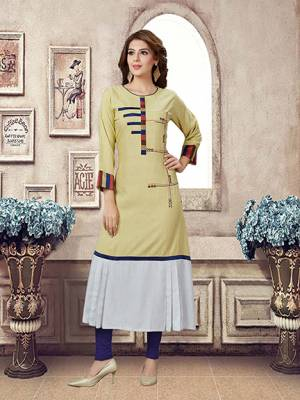 Grab This Pretty Unique Patterned Readymade Kurti In Pale Yellow And White Color Fabricated On Rayon, It Is Beautified With Prints And Available In All Regular Sizes.