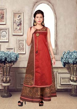 This Festive Season, Look The Most Simple And Elegant Of All With This Pretty Readymade Kurti In Red And Brown Color Fabricated Chanderi. It Is Beautified With Prints And Also Light Weight Which Is Easy To Carry All Day Long.